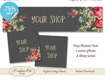 75% OFF SALE ETSY Shop Banner (Cover photo) + Shop Icons - Set #L006. Digital Flowers Etsy Shop Banner Digital Collage Sheet Roses Banner