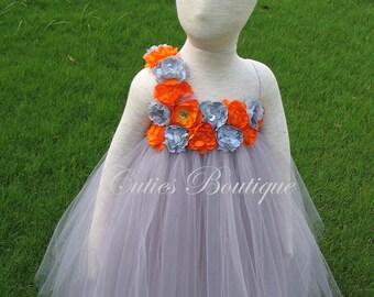 Gray Dress With Gray Orange Flower Dress Wedding Dress Picture Prop 6, 12, 18, 24 Month, 2T, 3T,4T 5T  Ivory Flower Girl Tutu Dress