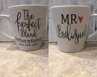 The Perfect Blend // Coffee Cup // Coffee Mug // Wedding Gift // Mr & Mrs