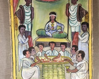 Ethiopian painted wall hanging