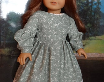 1830s pleated front gown for American Girl or similar 18 inch doll.