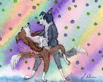 Border collie dog 8x10 art print - strictly ballroom dancing from a Susan Alison watercolor painting