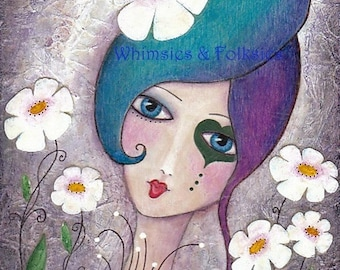 Whimsical Girl Folk Art - Funky Rainbow Hair Print by Joann Loftus