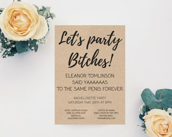 Bachelorette Party invitation, Fun and Naughty Bachelorette Party, Bachelorette Party Invitation Template, Bride-to-be, Digital File, PDF
