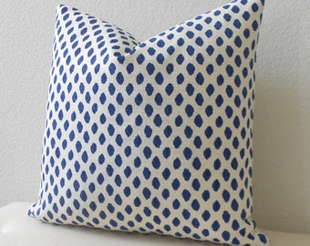 Both sides, royal blue dots decorative pillow cover, navy blue spots pillow