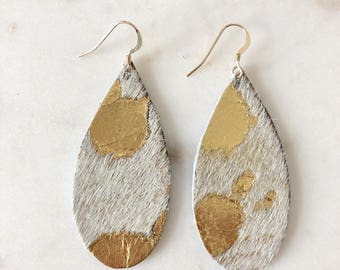 "Platinum ""Palomino"" Teardrop Leather Earrings Statement Earrings Gold Platinum Speckled Acid Washed 3rd Wedding Anniversary Gift"
