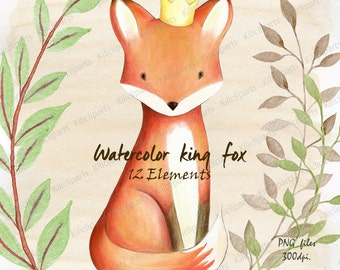 WATERCOLOR FOX, woodland, baby shower invite, birthday invitation, baby shower clipart, watercolor Papers, King fox, instant download.