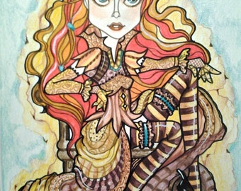 Steampunk Fantasy Pin Up Girl in Browns and Gold by Leslie Mehl