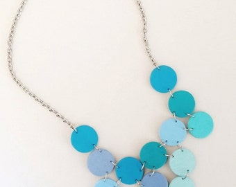 Modern geometric wooden necklace-circular in different shades of blue color- modern, contemporary, minimalist handmade jewelry- eco friendly