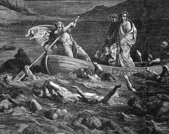 Phlegyas Ferry Dante, Virgil River Styx Inferno Canto 8 Gothic Engraving Gustave Dore' Hell Black & White