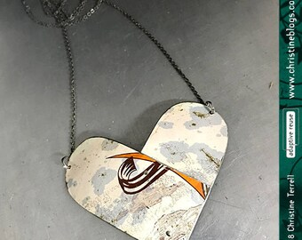 Double Arch Overlap Heart | Upcycled Tin Pendant | Ethical Jewelry | Valentines Gift | Wife Gift | Heart | Gift for Her | Tin Jewelry | Boho