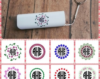 Customized monogram portable power bank keychain phone charger