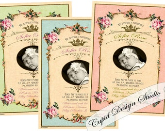Pink and gold Birth announcement card/Vintage royal baby announcement cards/Shabby chic birth announcement cards/Photo baby cards.