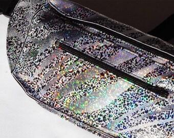 Holographic Glitter Silver Streak Festival Burning Man Fanny Pack Bum Bag for Men or Women