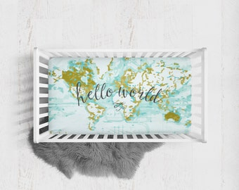 World map crib sheet etsy fitted crib sheet hello world aqua crib sheet adventure crib sheet aqua fitted publicscrutiny Image collections