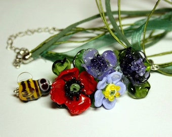 Lampwork flower necklace, glass necklace, lampwork necklace, lampwork pendant, flower pendant. artisan glass, gift for her
