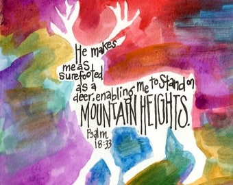 Deer + Psalm 18:33 Signed Giclee Archival Watercolor Print