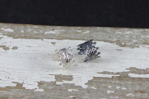 Double Princess Crown Sterling Silver Ear Cuff- Faux Piercing