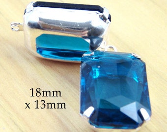 CLEARANCE SALE - Sheer blue zircon glass beads - 18x13 octagon rhinestone earring drops or pendants - one pair teal blue glass beads