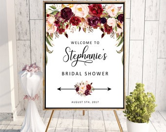 Welcome to Bridal Shower sign, Personalized Marsala Floral Baby Shower Sign, Printable Digital, Welcome to Wedding sign DIGITAL FILES, MA2