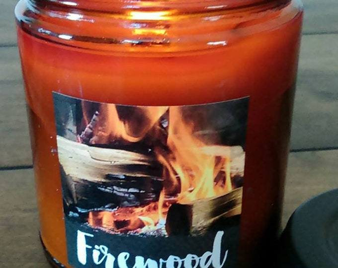 FIREWOOD -  Crackling Fire -  Authentic Wood Burning Wood Wick Soy Candle  9 oz - Simply like no others! Best Seller since 2012!