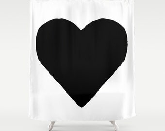 Heart Shower Curtain, Black and White Shower Curtain, Modern Shower Curtain, Girls Shower Curtain, Girls Bathroom Decor, Hearts, Black