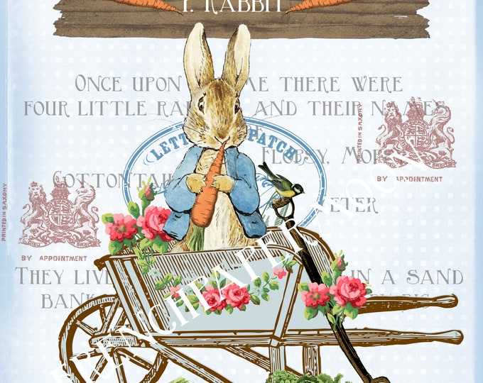 Vintage Digital Blue Peter rabbit, Shabby Beatrix Potter Digital Graphic, Peter Rabbit Pillow Digital Download, Transfer