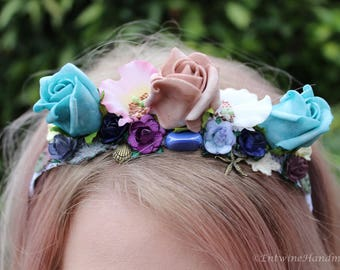 Mermaid Flower Crown Costume Rose Headband Starfish Shell Witch Pagan Wicca Boho Princess Halloween Pastel Goth