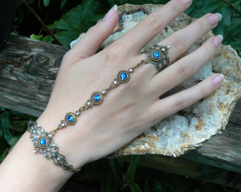 Blue Swarovski slave bracelet Renaissance hand chain hand flower slave ring bohemian Mothers day in victorian moon goddess pagan gypsy style