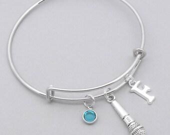 Microphone monogram charm bracelet | microphone bangle | personalised microphone bracelet | microphone jewelry | singer gift | singing