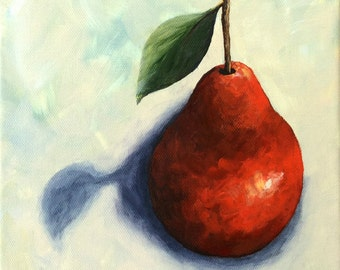 """Red Pear in the Spotlight 8"""" x 8"""" Original Still Life Pear Painting by Torrie Smiley"""