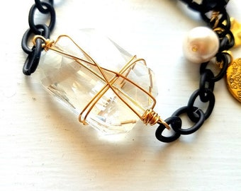 RILEY-Black Chain and Clear Glass Bracelet
