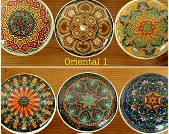 Oriental Mandala OR Bright Mandala Wood Drawer Knob on Cherry Wood Knob size 1.5  Dresser Knob, Drawer Pull, Dresser Pull Set 6