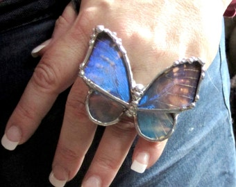 Real Butterfly Wing  Ring - Blue Morpho Butterfly