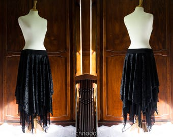 READY TO SHIP * Black Diamond Skirt ~ Free Size ~ Crushed Velvet Cloak ~ Samhain ~ Witch ~ Pagan Clothing ~ Wiccan ~ Ceremonial Cloak ~