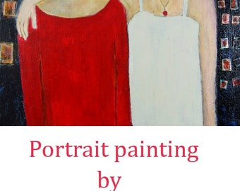 Acrylic Mixed Media Portrait Painting. Best Girl Friends. Gift for Sister. Woman Portrait. Cityscape Painting.