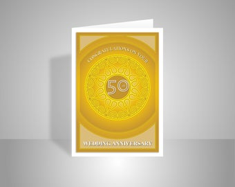 Golden years th wedding anniversary card handmade to