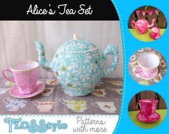 Alice's Tea Party Set Sewing Pattern for Fabric Tea Pot, Tea Cup & Saucer
