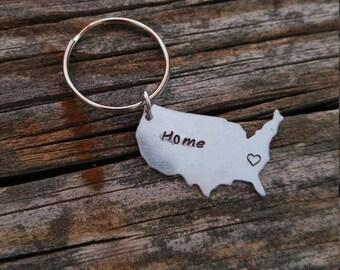 Personalized America Keychain | Custom State Keychain | Custom Keychain | Home Keychain | Personalized State Keychain