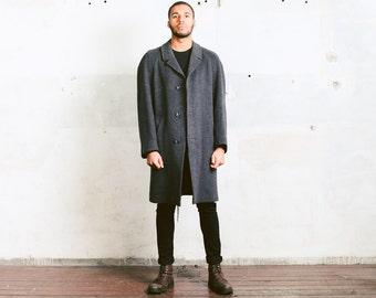 NORFOLK Coat . Vintage Wool WINTER COAT Mens Grey 1970s Topcoat Overcoat Chesterfield Coat Dandy Mod 70s Winter Jacket . Extra Large xl