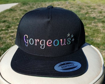 Gorgeous Flat Brim Hat in Black with Super Reflective Writing and Snap Back Fit