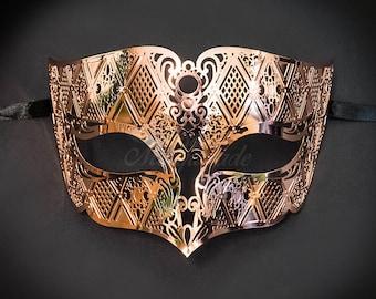 Men's Masquerade Mask, Metal Mask, Rose Gold Masquerade Ball Mask, Men's Mask, Men's Rose Gold Mask