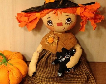 Halloween witch doll Halloween doll fantasy Halloween gift Halloween party    folk doll witch primitive doll whimsical doll Halloween décor