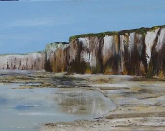 Table knife cliffs St Valery en Caux - Normandy - oil