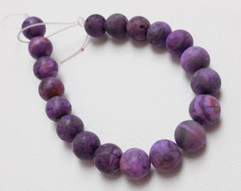 Purple Crazy Lace Agate beads—Matte finish, 10mm