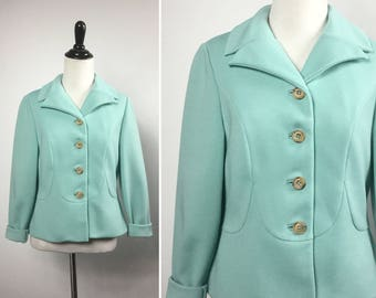 Aqua Blue Jacket - Light Pastel Blue Green, Robin Egg Blue Jacket - Lightweight Spring Jacket - Vintage 60s - Tan Buttons, Scalloped Seams