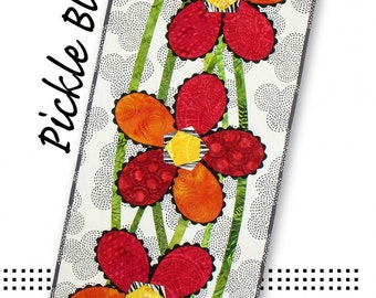 SALE Pickle Blooms Table Runner & Place Mats Pattern by Tiger Lily Press; TLP1238; Table Runner Pattern; Flowers; Applique