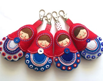 Matryoshka Russian Doll  Keychain Felt