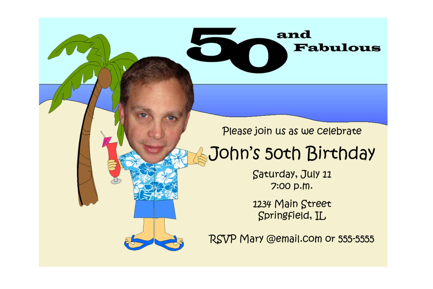 Hawaiian Themed Birthday Invitation Beach Unique Funny