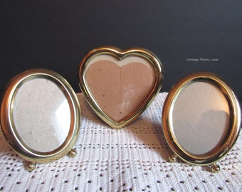 3 Picture Frame Lot, Solid Brass, Photo Frames, Miniature Frames, Mini Picture Frames